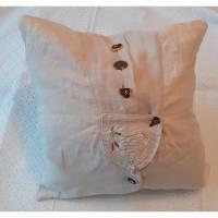 Handgearbeitetes Vintage Kissen / Shabby Chic / romantisch, gestickt, Dekorative Kissen, Upcycling Blau Vintage Flair Stil ! Bild 1