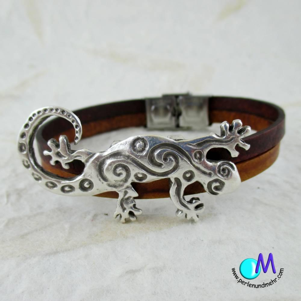 Gecko echt Leder Armband für den Mann in Wunschlänge ART 4096 Bild 1