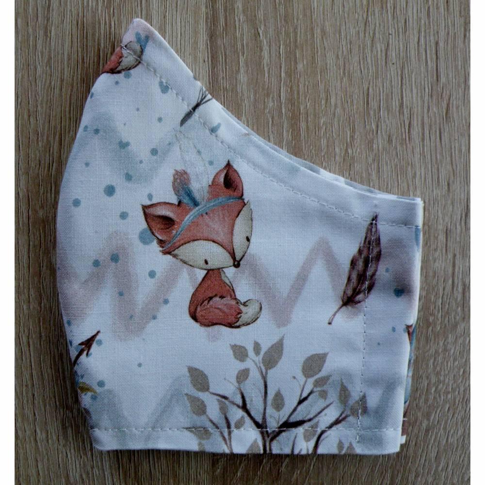 """Mund/Nasenmaske / Herbst/Winterkollektion / Baumwolle / doppellagig / waschbar - """" Kleiner Fuchs im Herbstwald unterwegs """" Bild 1"""