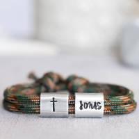 Armband personalisiert mit Gravur handgestempelt zur Taufe, Kommunion, Geburtstag, Schulanfang, Konfirmation, ichthys, Kreuz Bild 1