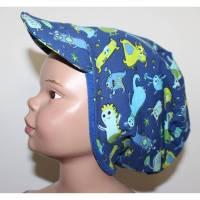 Gefütterte Beanie Mütze mit Schirm KU 52-55 Monster blau Bild 1