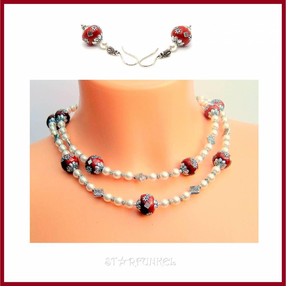 """Schmuckset """"Kashmiri"""" Y-Kette mittelang und Ohrringe, Perlen, pearl, weiß, dunkelrot, antik versilbert Bild 1"""