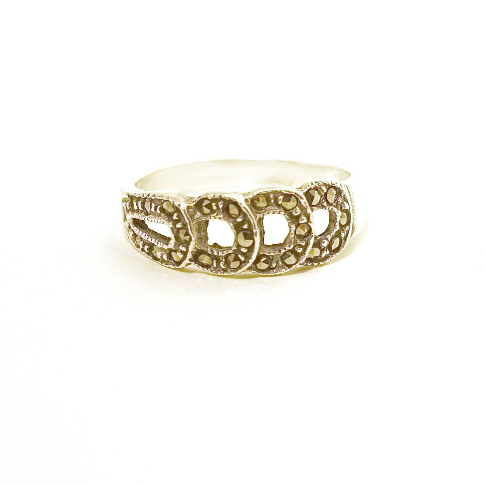 Original Vintage Silber Ring mit 24 Markasiten Bild 1
