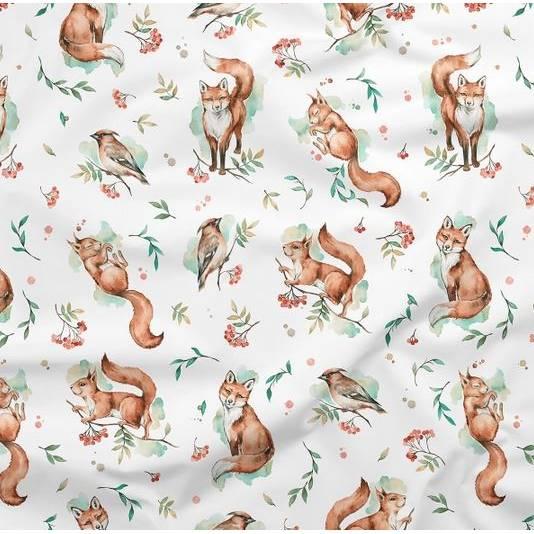 Baumwollstoff Füchse Eichhörnchen Waldtiere Vögel Wald Kinderstoff Baumwolle Meterware Für Vorhänge Kissen nähen Quilt Stoff Patchwork  Bild 1