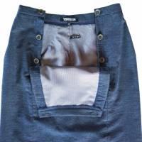 ROCK blau meliert, 2-reihig, Wolle, knielang, für den Winter Bild 3