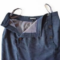 ROCK blau meliert, 2-reihig, Wolle, knielang Bild 4
