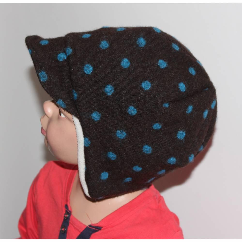 Winter Mütze Ohrenklappen Beanie mit Schirm KU 51-52 Wollfleece Bild 1