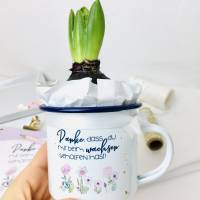 """Emaille Tasse, Geschenk für Erzieherin / Tagesmutter, """"Danke, dass du mir beim wachsen geholfen hast!"""" Bild 7"""