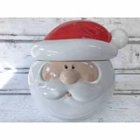 Keksdose, Weihnachtsmann, Santa Clause, aus Keramik , handbemalt Bild 1