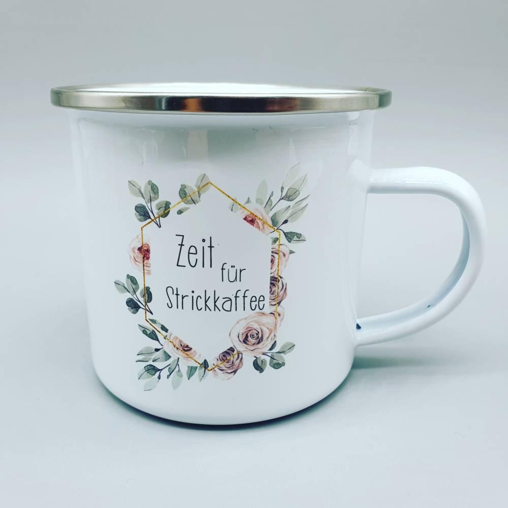 Emaillebecher - Zeit für Strickkaffee - Emailletasse Bild 1