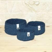 3er-Set Körbchen in dunkelblau Bild 1