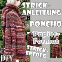 Papier- Format DIY Schritt- für Schritt- STRICK- Anleitung PONCHO mit Zipfelmützen- Kapuze Bild 1