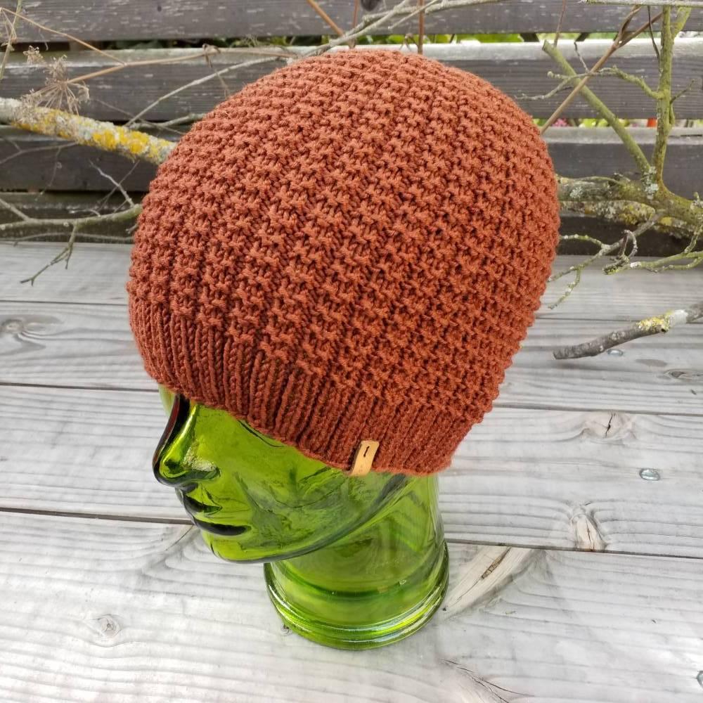 Mütze - Wollmütze - Strickmütze - Herrenmütze - unisex - 100% Wolle - handgestrickt - kupferbraun Bild 1