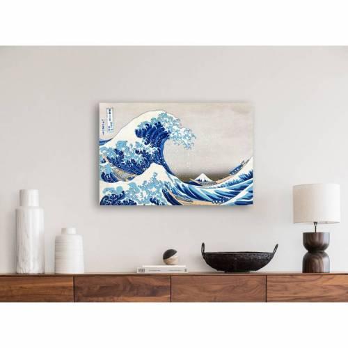 Leinwand Japanische Kunst - The great Wave 45x30 cm - gewaltiges Meer - Wandbild -  Bilder für Wohnzimmer Schlafzimmer -  Asien Holzschnitt, abstrakt