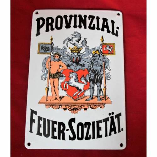 Emaille Schild Provinzial Feuer Sozietät Vintage unbenutzt