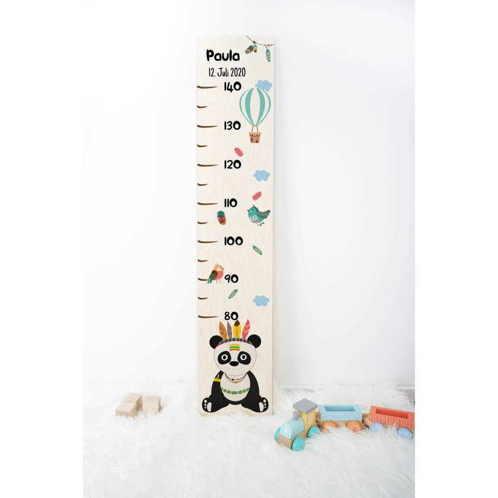 Holz - Messleiste für Kinder, personalisiert mit Name und Datum, Geschenk zur Taufe, Geschenk zur Geburt, Motiv: Pandabär Bild 1