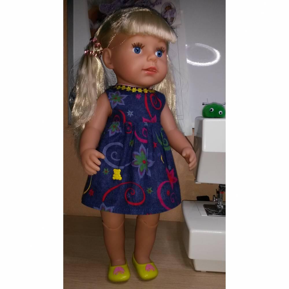 Puppenkleid blau gemustert, für Puppen, Gr. 40-43 cm Bild 1