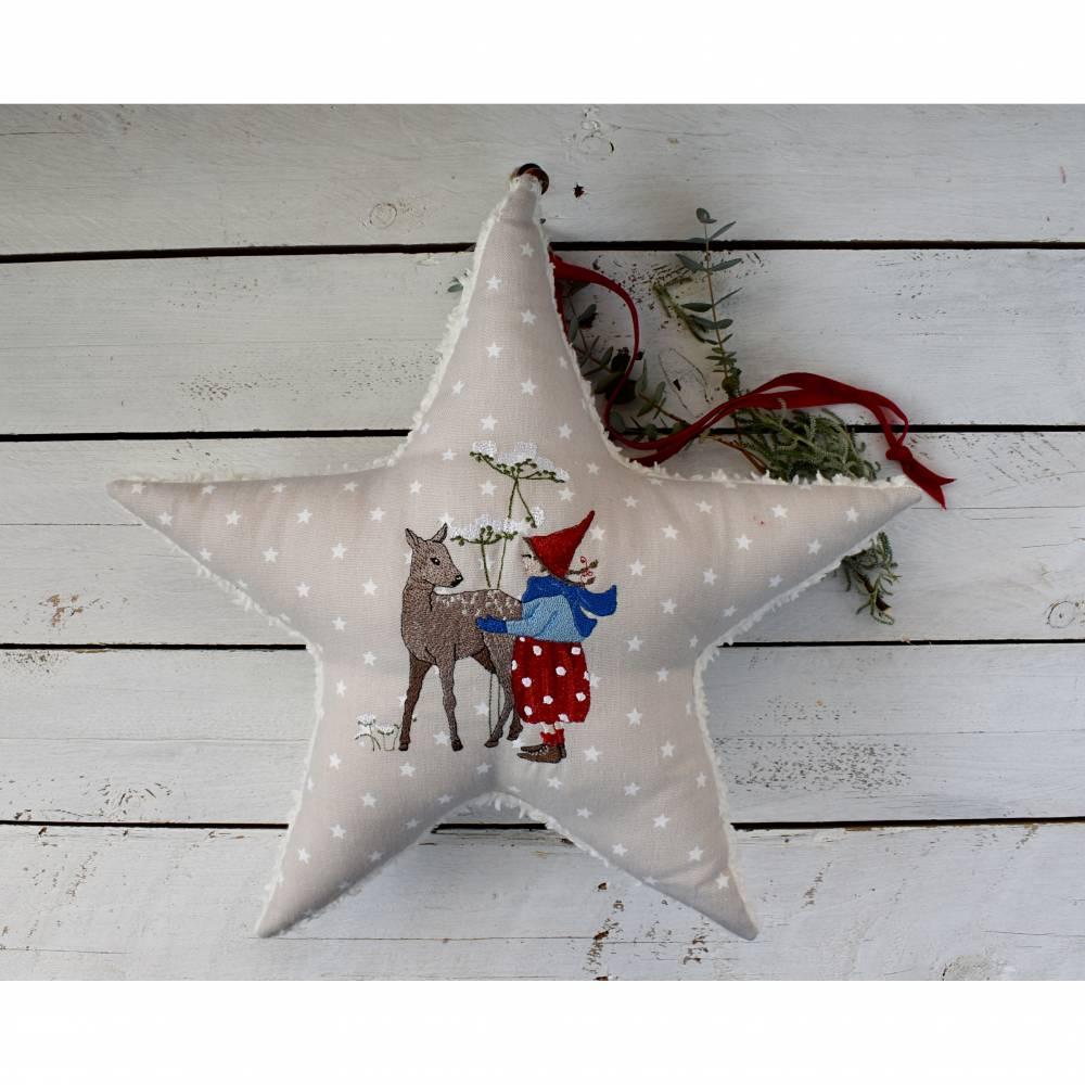 winterlicher Stern - Stoffstern - Wichtelmädchen  Bild 1