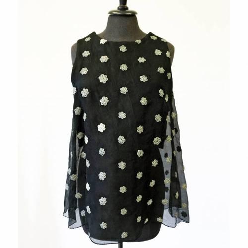 schwarzes SEIDENTOP bestickt, mit Tasche, transparent, durchscheinend, Blumenmuster