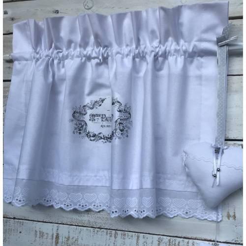 Landhausgardine 2 tlg. Weiß mit Spitze inkl.deko Stoffherzen