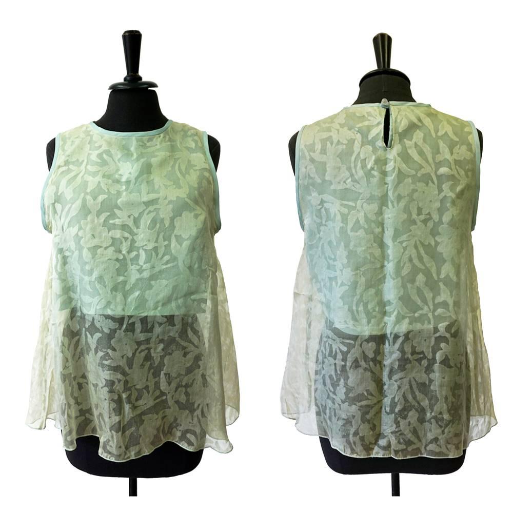 TOP SEIDE grün, mit Tasche, Hochzeit, transparent, durchscheinend, Blumenmuster Bild 1