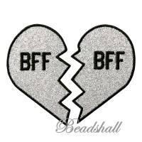 2 Bügelbilder Best Friends BFF Herz Applikation Aufnäher Bild 1
