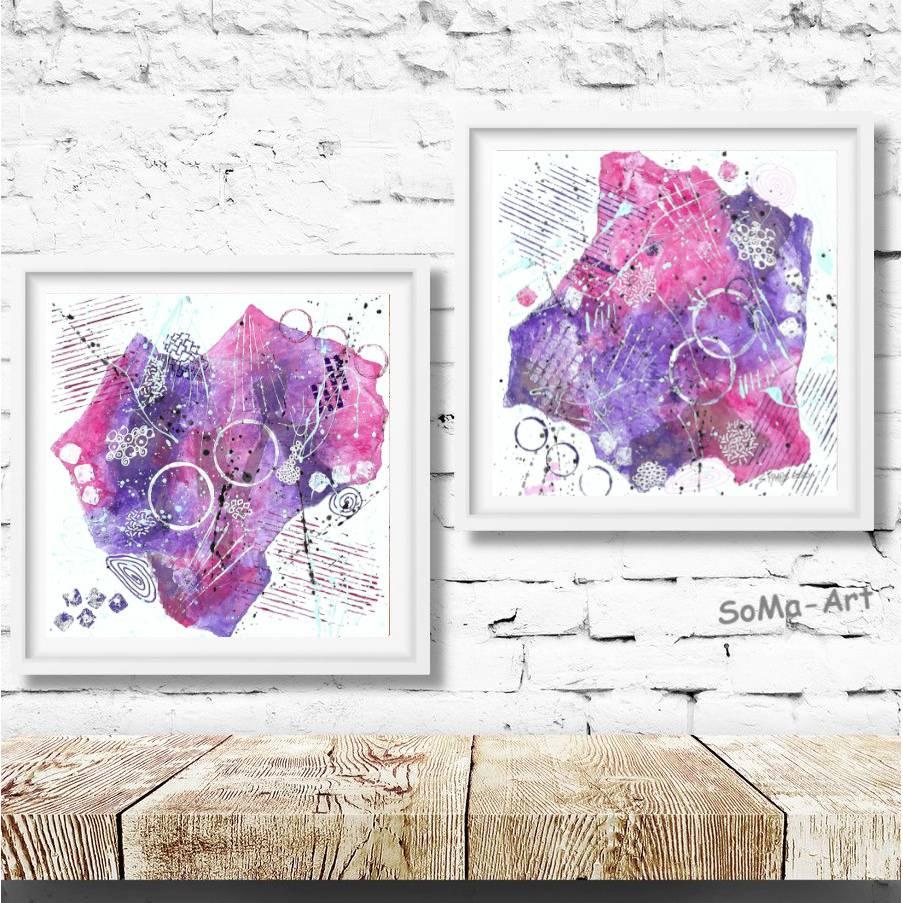 Abstrakte Mini Collage in Lila und Pink. Mustermix für Entdecker. Kleine Wandkunst im Duo, ungerahmte Bilder Bild 1
