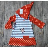 Kapuzenkleid Mädchenkleid Langarmkleid Größe 98 - Herzmädchen rot weiß Bild 1