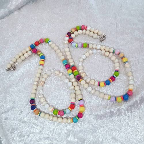Regenbogen Perlen Schmuck-Set, Halskette und Armband