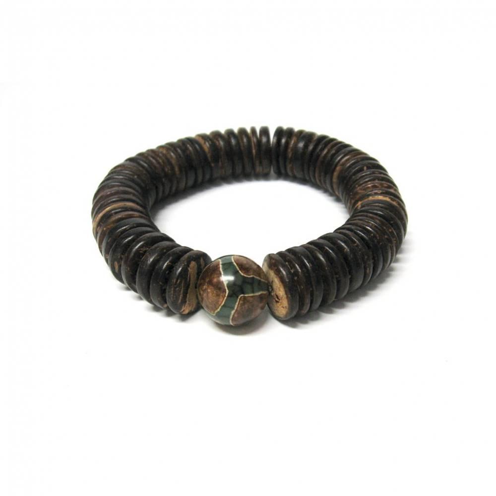 Herren Armband aus Cocos Scheiben und Tibet Achat, Schmuck, Geschenk, Geburtstag, Bild 1
