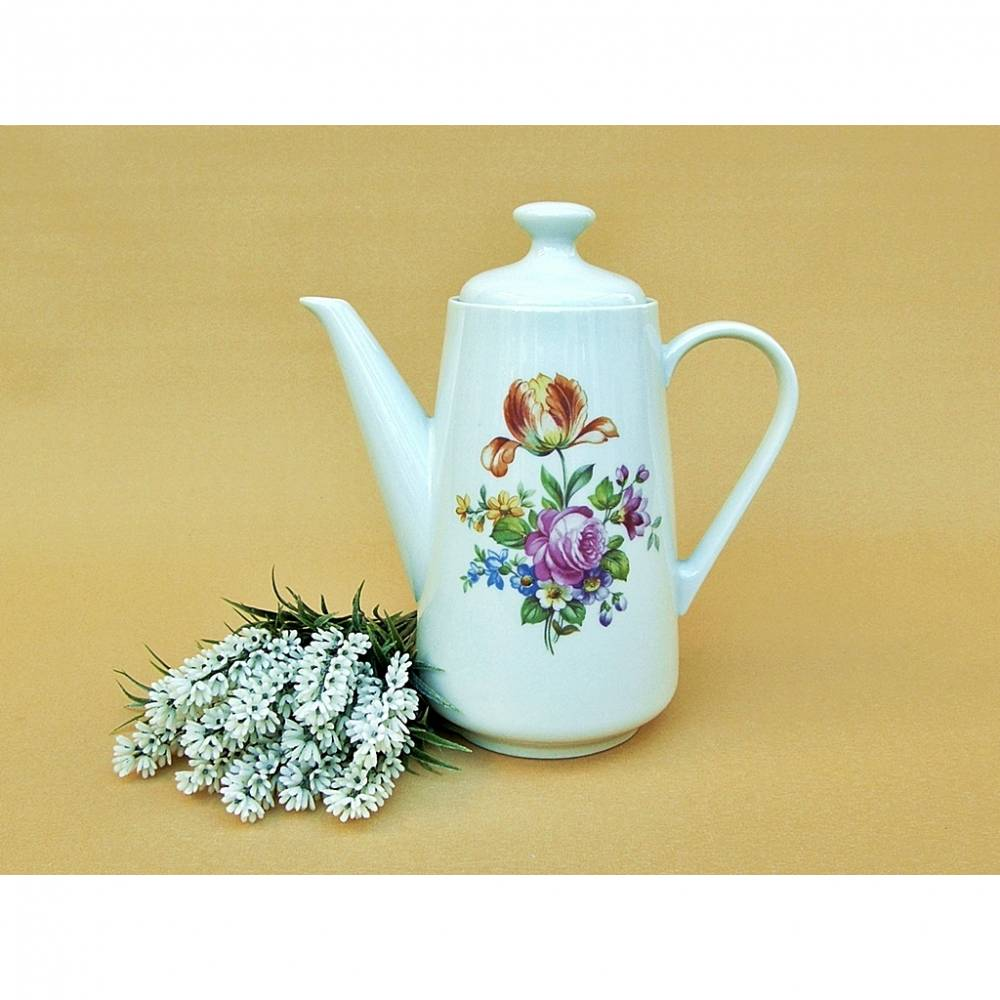 Vintage - Alte Kaffeekanne Kahla Porzellan Kanne Teekanne weiß Blumen Tulpe Rose Bild 1