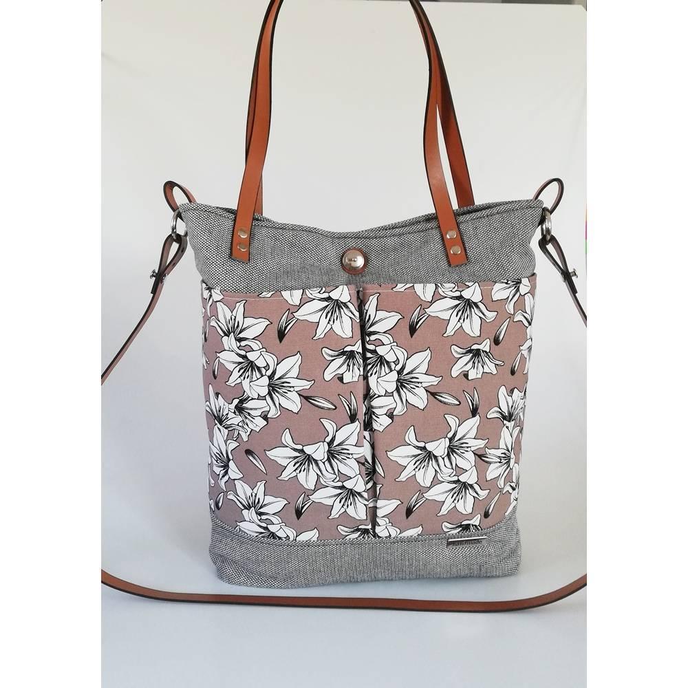 Schultertasche, Damentasche Lia, Canvas schwarz-beige, Unikat, Handmade   Bild 1