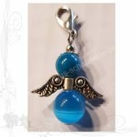 Kettenanhänger * Beschützender Engel 009* silberfarben mit meerblauen Perlen, keine Versandkosten Bild 1