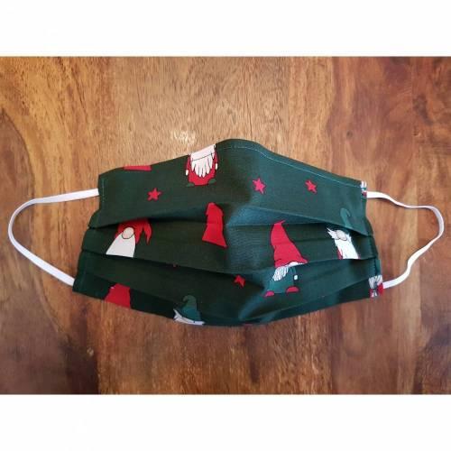 Weihnachten, Wichtel, Gesichtsmaske, Behelfsmaske, Alltagsmaske, Communitymaske, Stoffmaske, Behelfs-Mund-Nase-Maske, Maske mit Nasenbügel für Mund und Nase