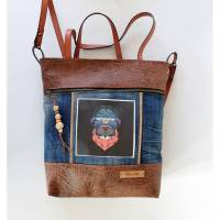 Schultertasche, Shopper Heidi -Bulldogge, Kunstleder braun, Jeans upcycling, Paneele Hund, Unikat, Handmade Bild 1
