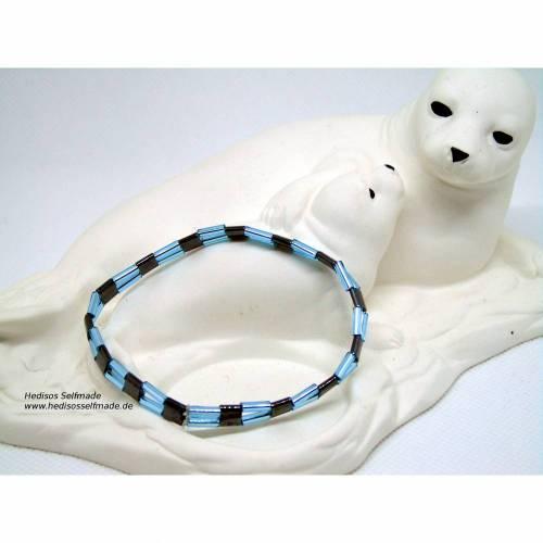 Armband aus Hämatit und Stäbchenperlen 17 cm elastisch