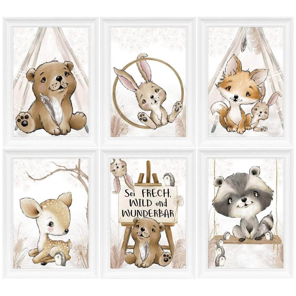 Kinderzimmer Bilder Babyzimmer Poster Waldtiere Tiere Boho Kinderbild   A4 Bild 1