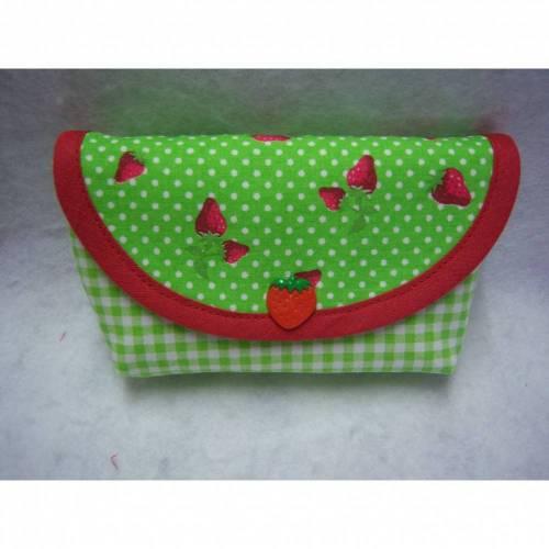 Taschentüchertaschen mit Bodenfalte, Erdbeeren