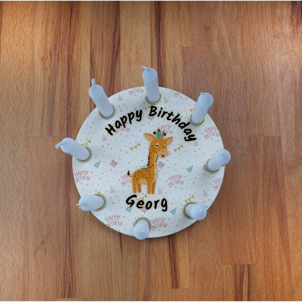 Geburtstagskranz aus Holz, mit 8 Löchern kompatibel zu Grimm, Tischdekoration für Kindergeburtstag, Geschenk zur Geburt, Motiv: Giraffe Bild 1