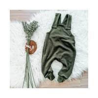 Größe 68/74 Baby Latzhose weicher Cord-Jersey uni khaki   Bild 1