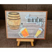 "Vatertagskarte "" Happy Beer Day "" Bierkrug , Bierfass , Bierglas Bild 1"
