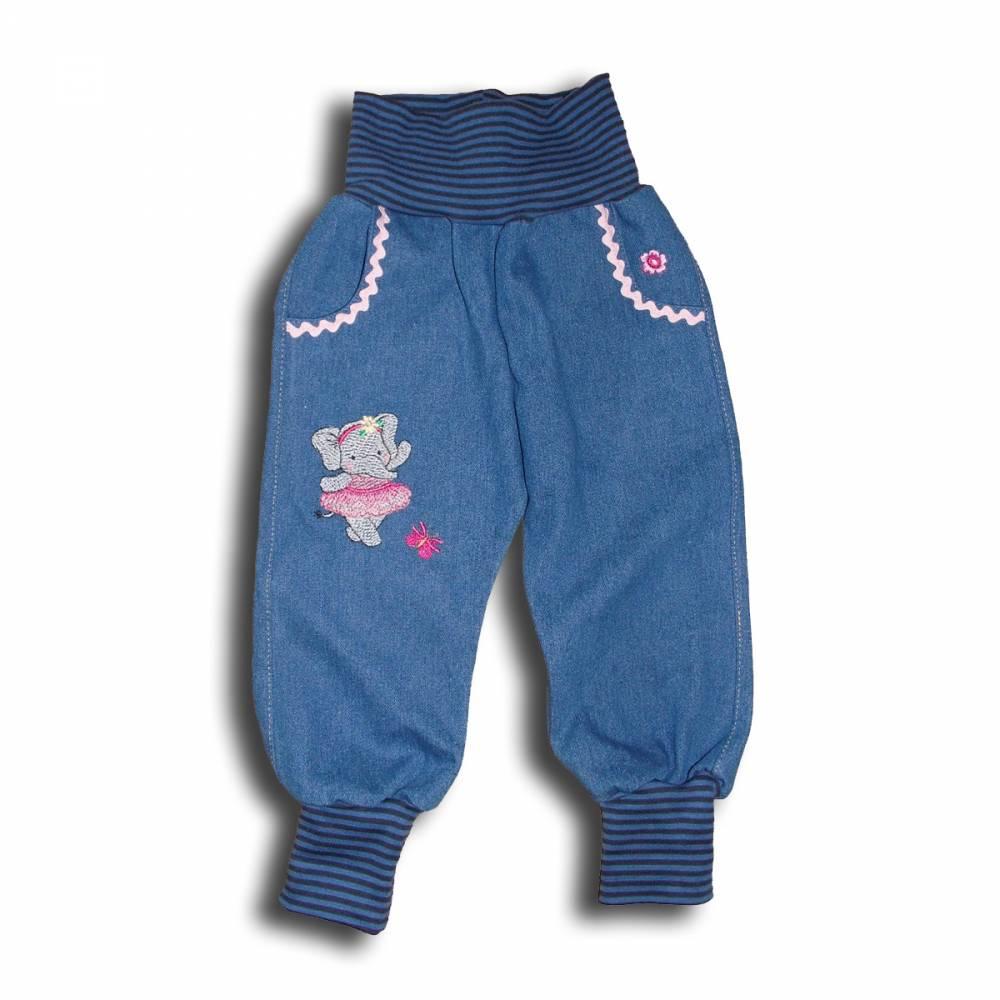 Baby-Pumphosen Jeans Stickerei Elefant Ballerina Mitwachshosen Schlupfhosen Krabbelhosen Haremshosen Gr. 68 bis 98 Bild 1