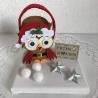 Eule Geldgeschenk Weihnachten Weihnachtsdeko Sterne Geld Gutschein Weihnachtsgeschenk Filz-Tasche Holz Bild 1