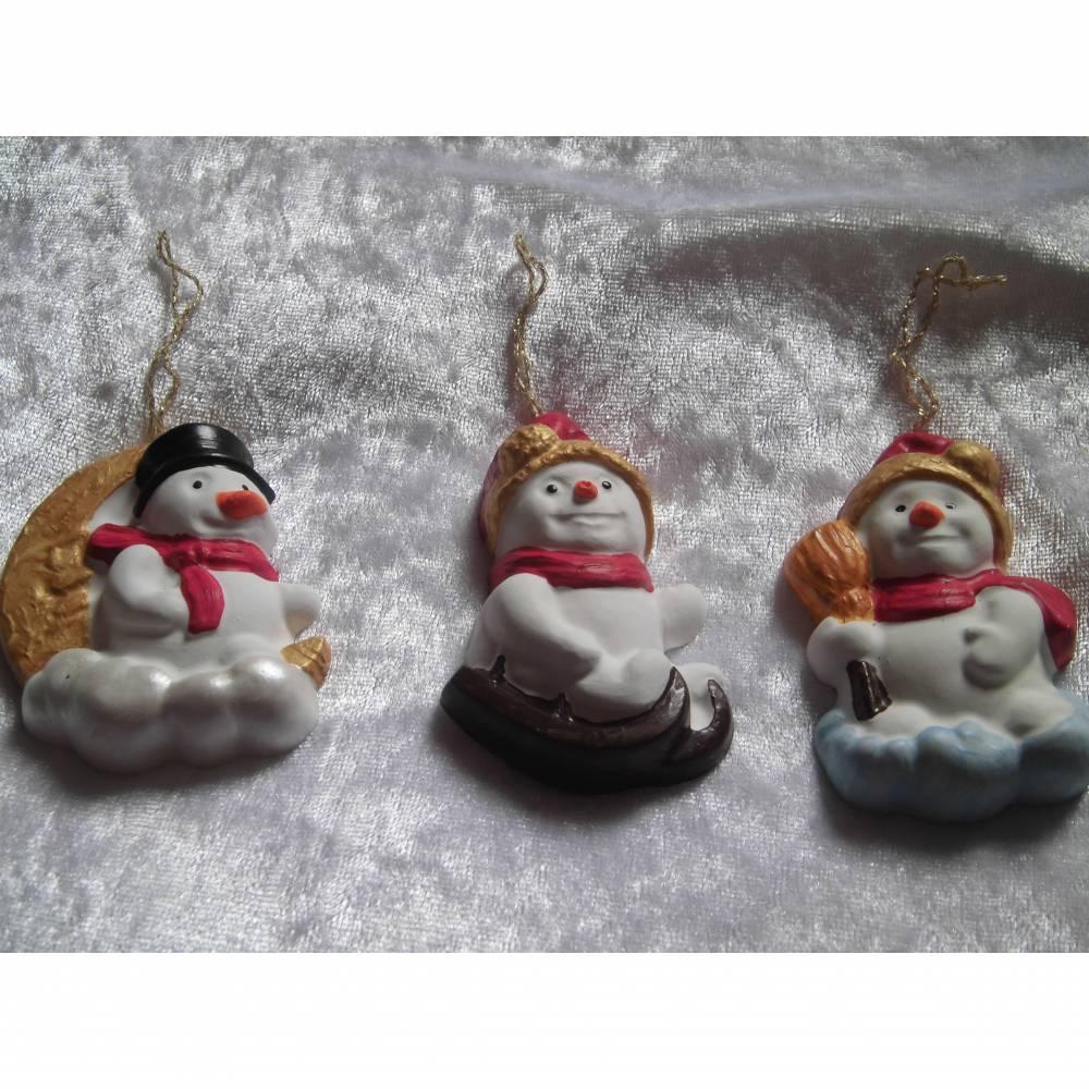 Baumschmuck , Schneemänner Christbaumschmuck, Weihnachstdeko, Weihnachten,Adventsdeko, Geschenkanhänger Bild 1