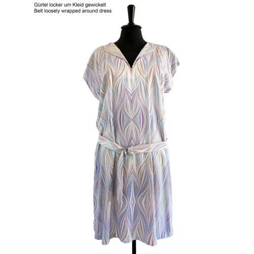 ART-DÉCO Kleid, Strandkleid, Tunika mit Gürtel, marmoriert, Art Nouveau, Jugendstil