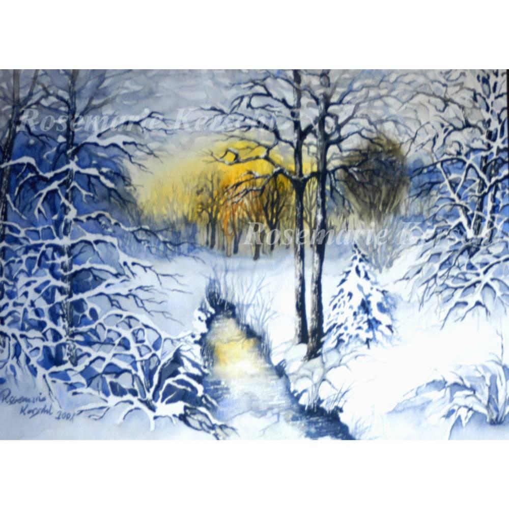 Winterwald Aquarellbild handgemalte Landschaft 30 x 40 cm in Querformat Bild 1