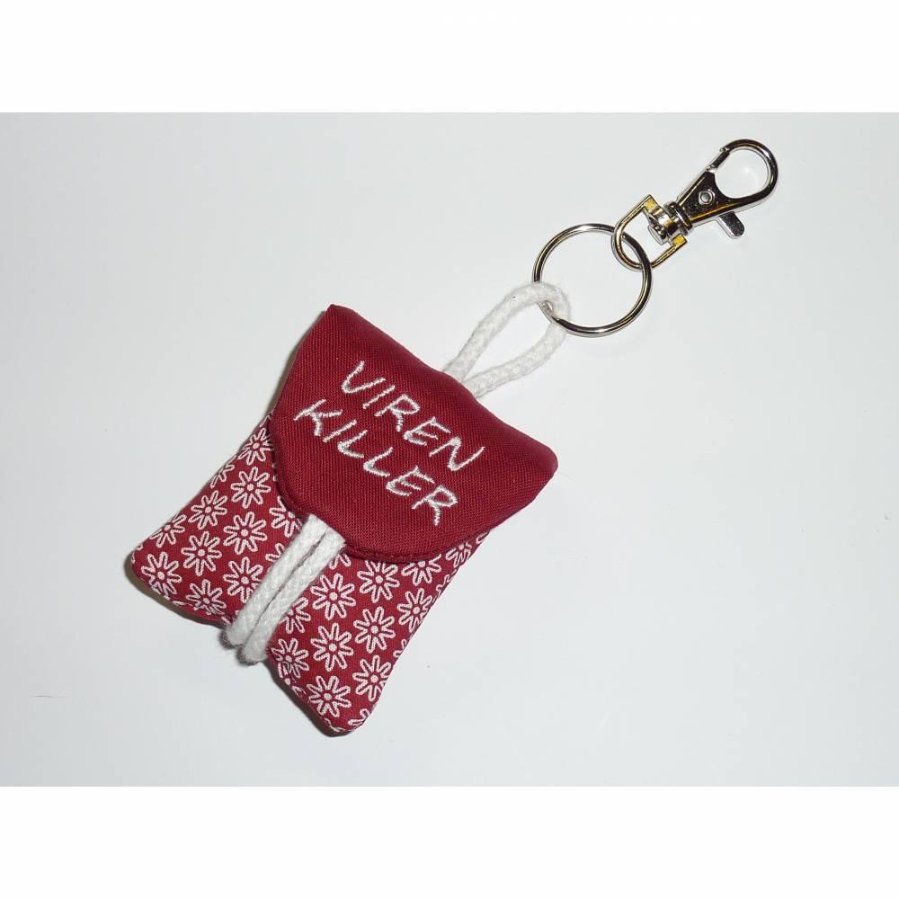 Seifentäschchen Schlüsselanhänger Seife Tasche dunkelrot Blumen Bild 1
