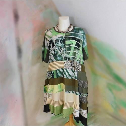 Kleid 52 - 54 Hängerchen Tunika XXL XXXL Handmade Upcycling Unikat asymmetrisch Lagenlook Übergröße PlusSize grüm khaki oliv