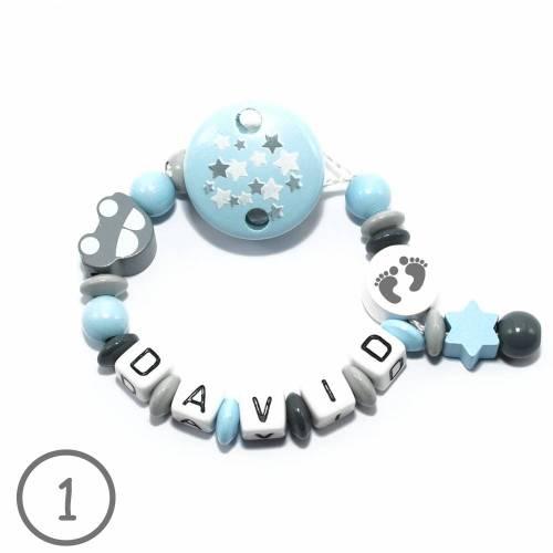 Schnullerkette mit Name, Auto - Füsschen- Personalisierbar - Schnullerketten mit Name - Schnullerkette Mädchen - Junge - Geburtsgeschenk