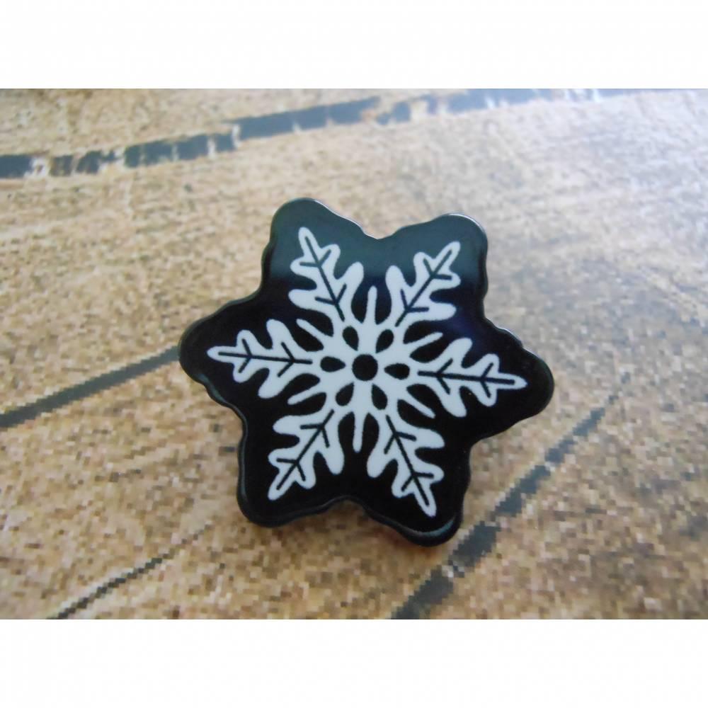 Brosche Pin Schneeflocke / Eisblume Winter   Bild 1